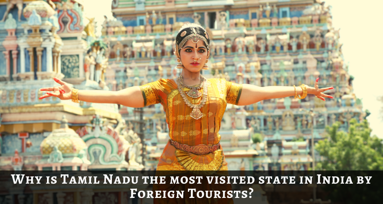 A bharatanatyam dancer posing in front of a temple background