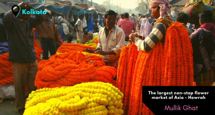 Mullick Ghat flower market of Kolkata near Hugli River