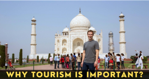 Mark Zuckerberg standing in front of Taj Mahal
