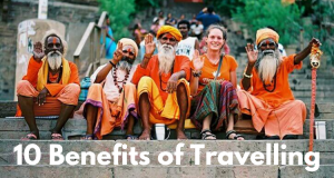 Group of Indian Sadhus posing with a Foreign Lady