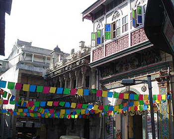 Colourful street flags in ahmedabad old city
