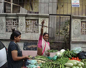 Ahmedabad old city fruit & vegetable hawker