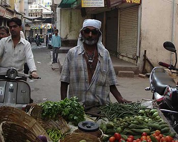 Ahmedabad old city vegetable street vendor