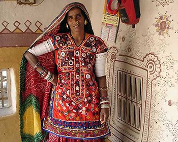 Village woman in traditional costume