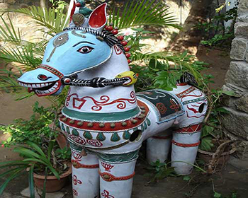 Pottery horse artefact at Cardamom House, Dindigul