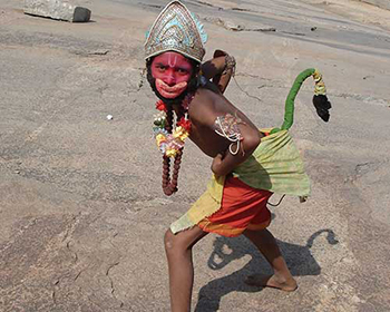 Kid Dressed As Hanuman At Hampi