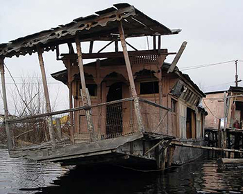 Old Derelict Houseboat On Dal Lake, Srinagar