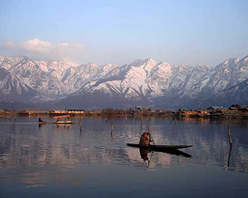 Canoeist On Dal Lake, Srinagar