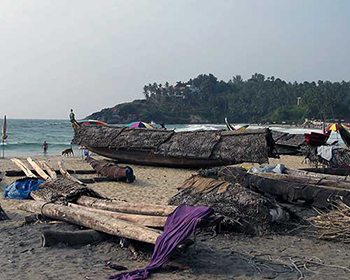 Kovalam Beach Fishing boats