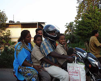 Family On Bike Near Mundackal