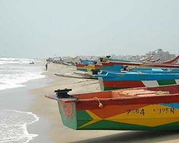Fishing boats on the beach at Mahabalipuram