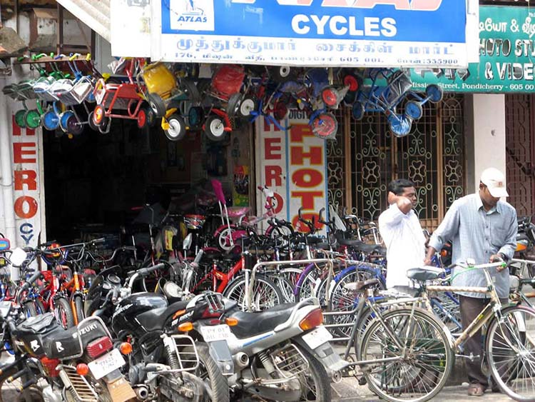 Chaotic bicycle parking in Pondicherry