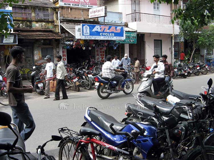 Motorcycles in the Tamil Quarter of Pondicherry
