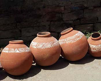 Traditional Earthenware Pottery At A Market In Karauli