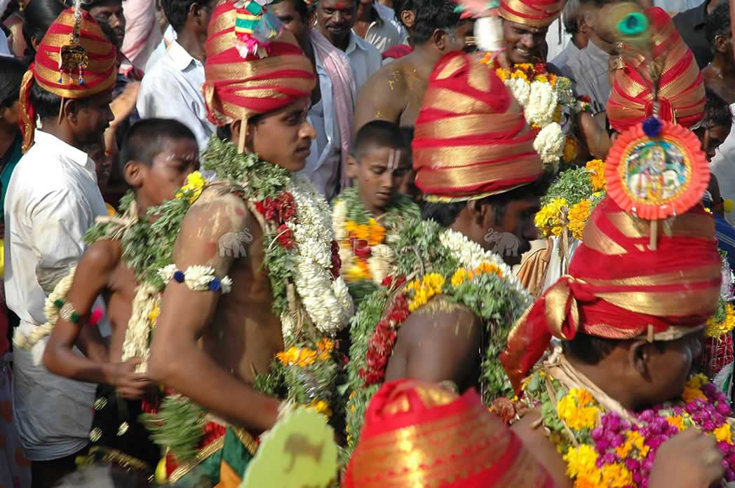 Devotees On The Way To Temple