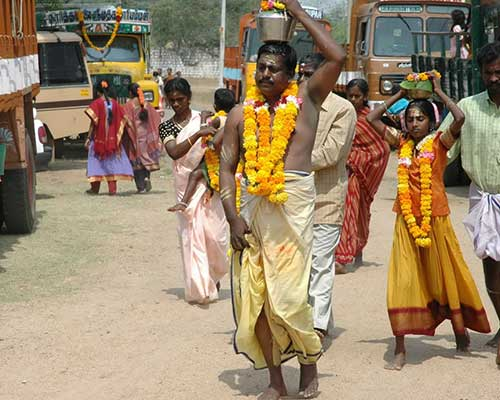 Devotees On The Way To A Temple