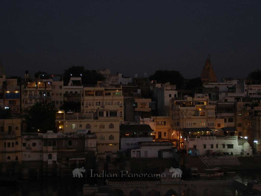 Sunset over old city of Udaipur