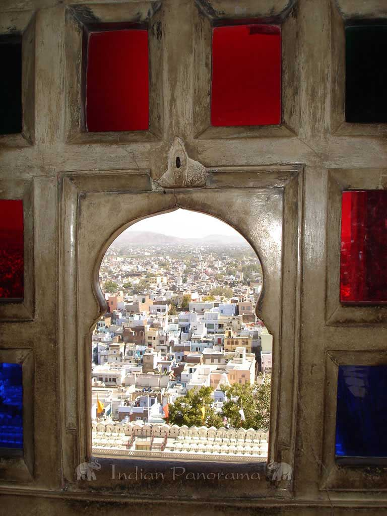 Views from ornate stained glass window in City Palace
