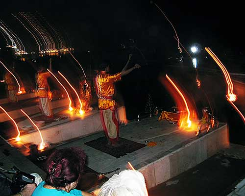 Aarti ceremonies at night in Varanasi