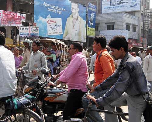Traffic jam in the city of Varanasi