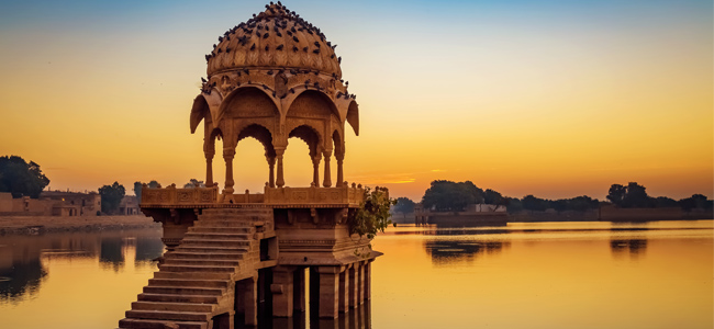 Gadisagar Lake - Majestic Rajasthan with Taj Mahal - Indian Panorama